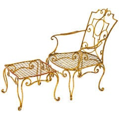 Jean-Charles Moreux Gilt Iron Chair and Ottoman