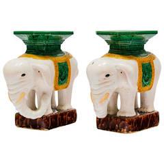 Pair of Ceramic Elephant Garden Stools