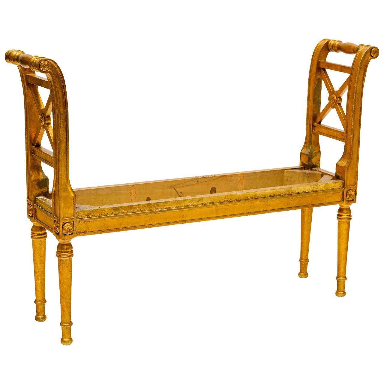 Narrow Giltwood French Bench At 1stdibs