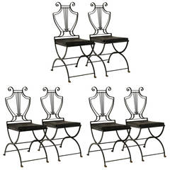 Six Italian Iron Lyre Back Chairs