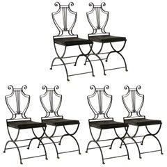 Six Italian Iron Lyre Back Chairs