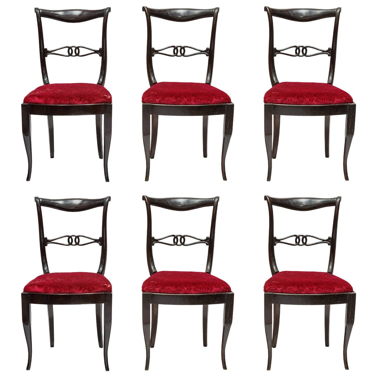 Set Of Hollywood Regency Dining Chairs At 1stdibs