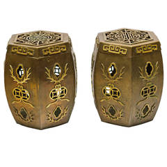 Pair of Asian Brass Garden Stools