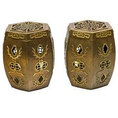 Pair of Asian Brass Garden Stools