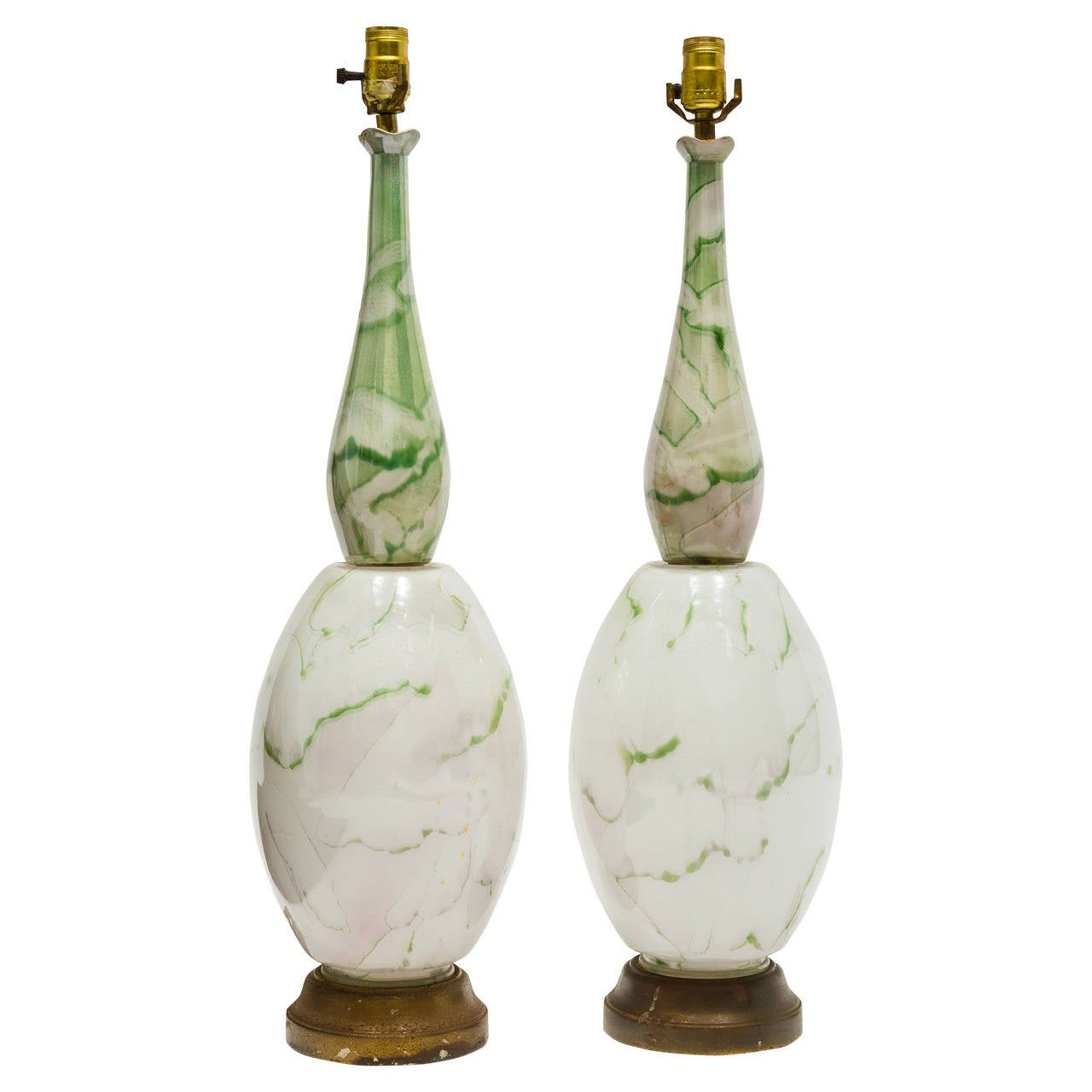 Pair of Green and White Glass Table Lamps