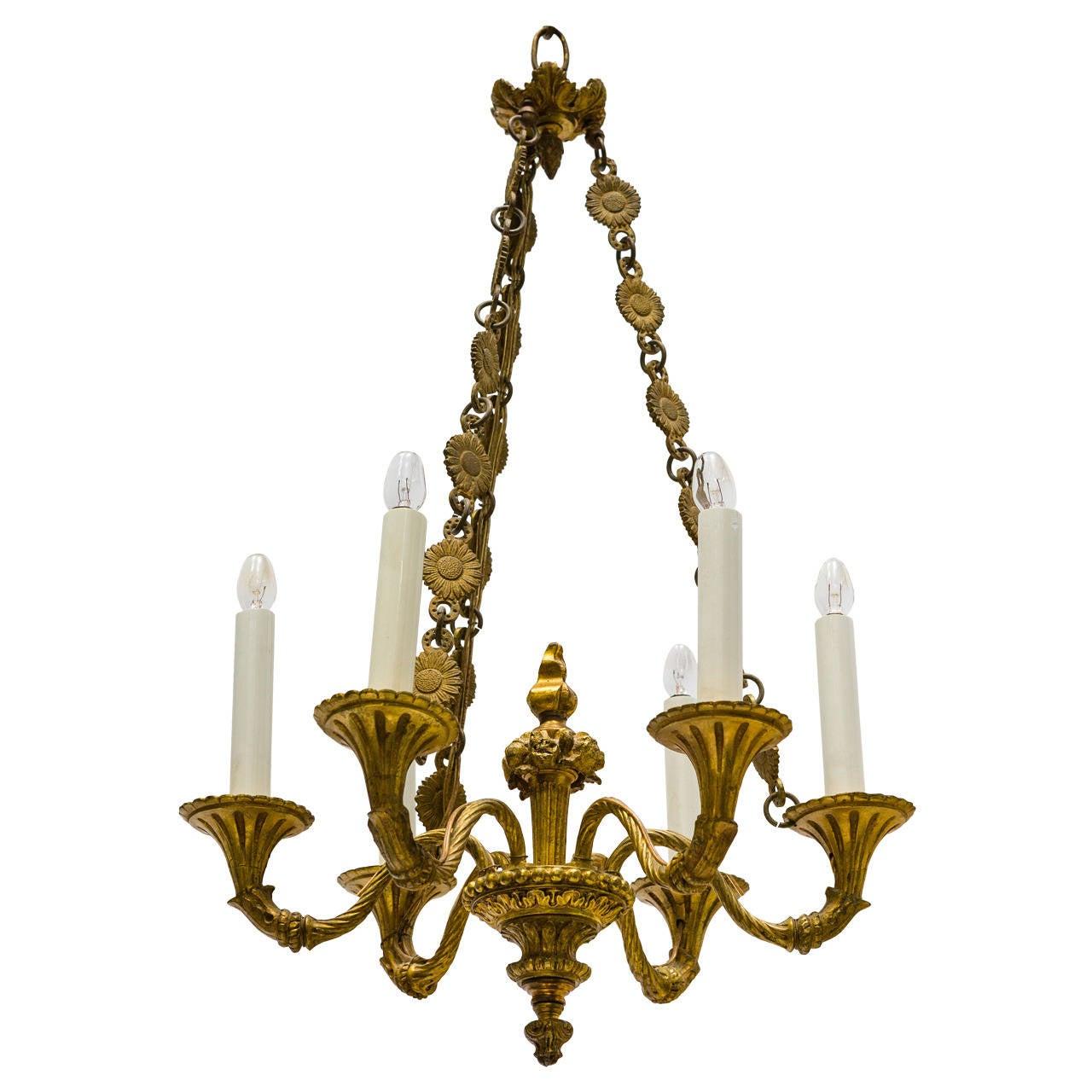 French Bronze Six-Light Chandelier