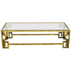 Mastercraft Brass Greek Key Coffee Table