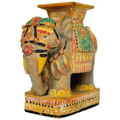 Unglazed Ceramic Elephant Table