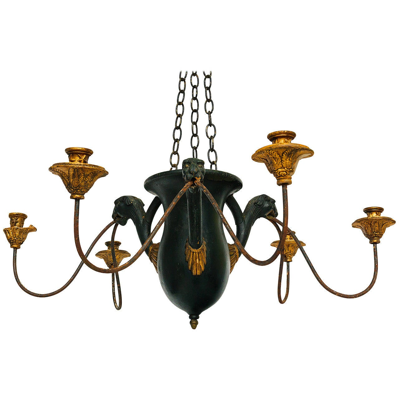 Rare French Carved Wood Panther Chandelier At 1stdibs