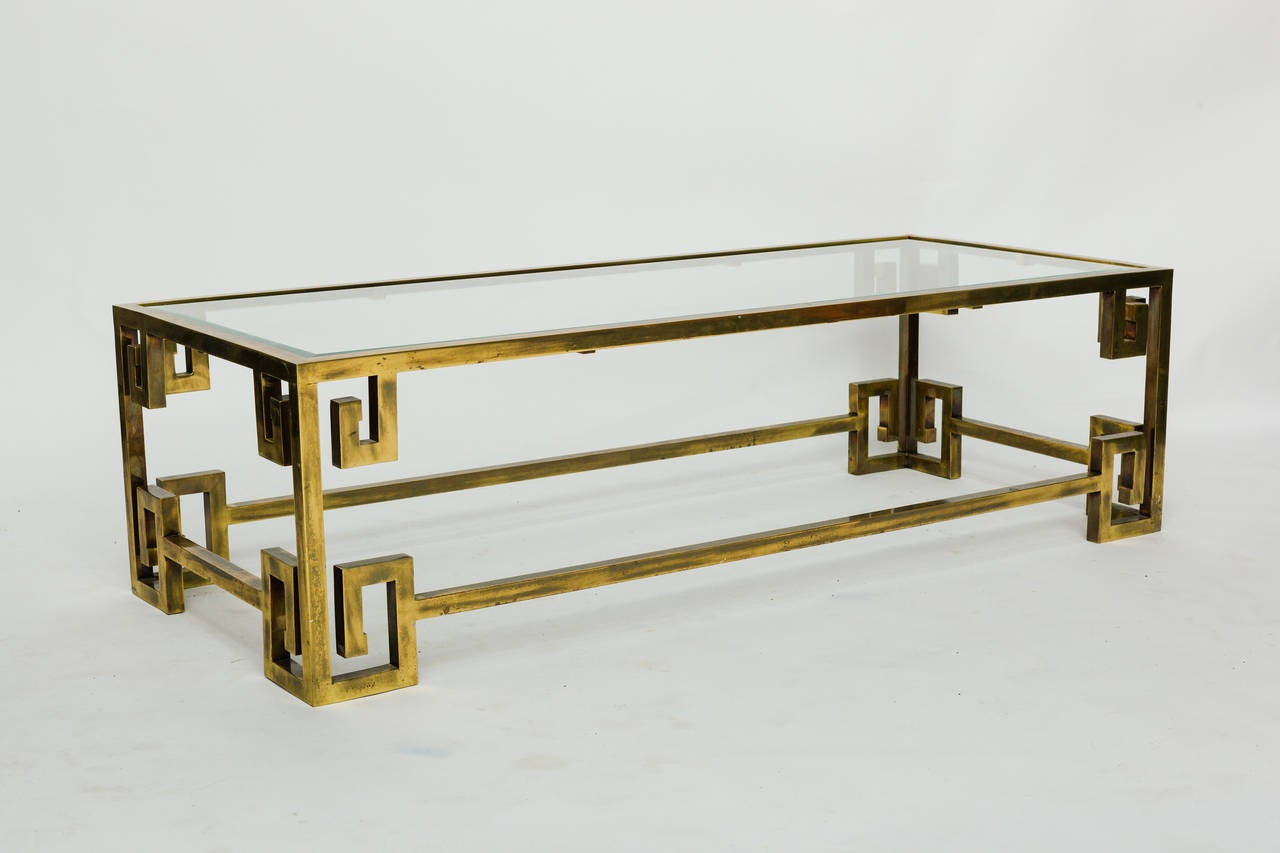 Charming Mastercraft Brass Greek Key Coffee Table 3