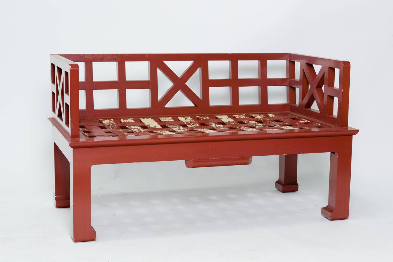 A pair of s asian style wood benches at stdibs
