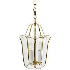 Brass and Glass Tulip Pendant Lamp