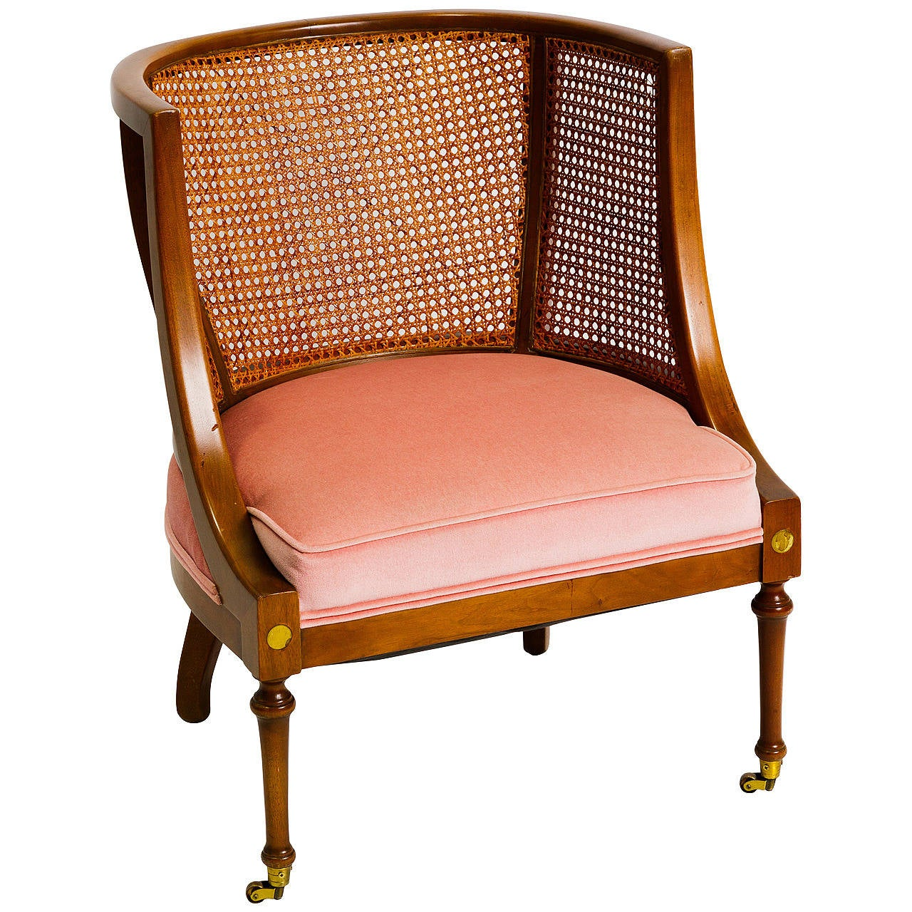 Regency Style Caned Lounge Chair By Bert England At 1stdibs
