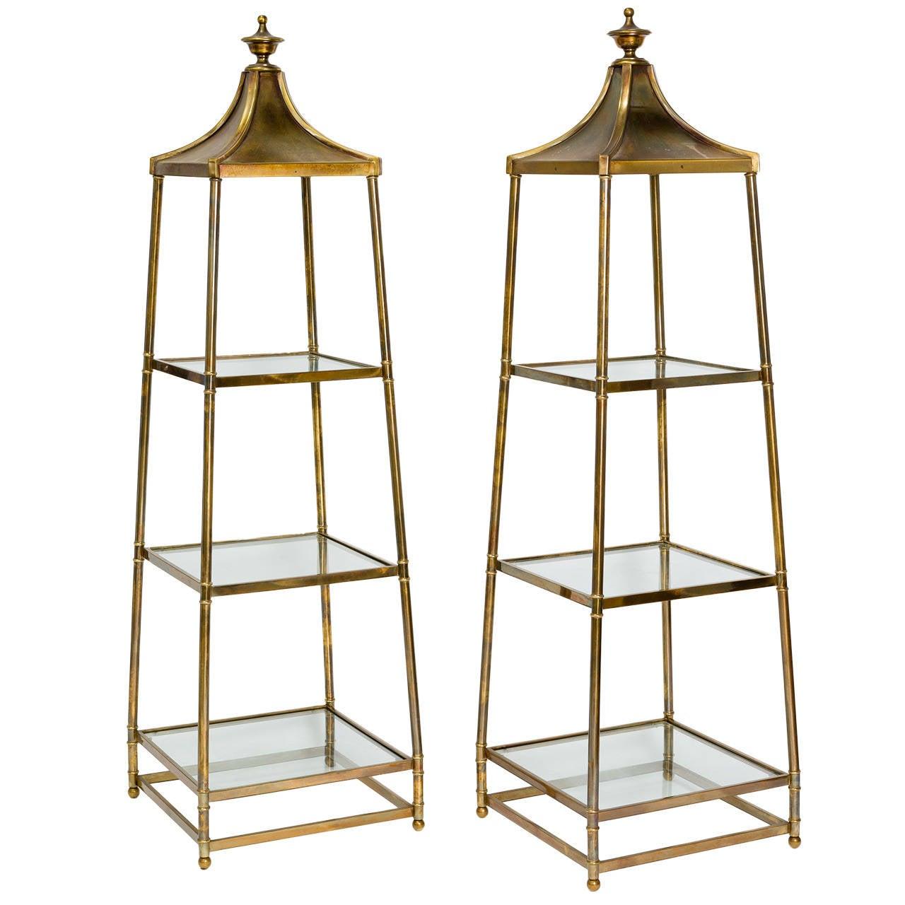 pair of mastercraft brass obelisk tag res at 1stdibs. Black Bedroom Furniture Sets. Home Design Ideas