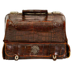 19th Century Crocodile Vanity Case with Sterling Initials