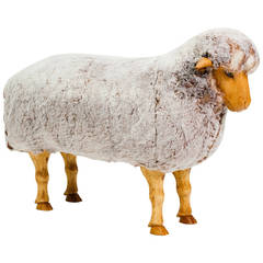 Natural Size Wood Sheep Stool