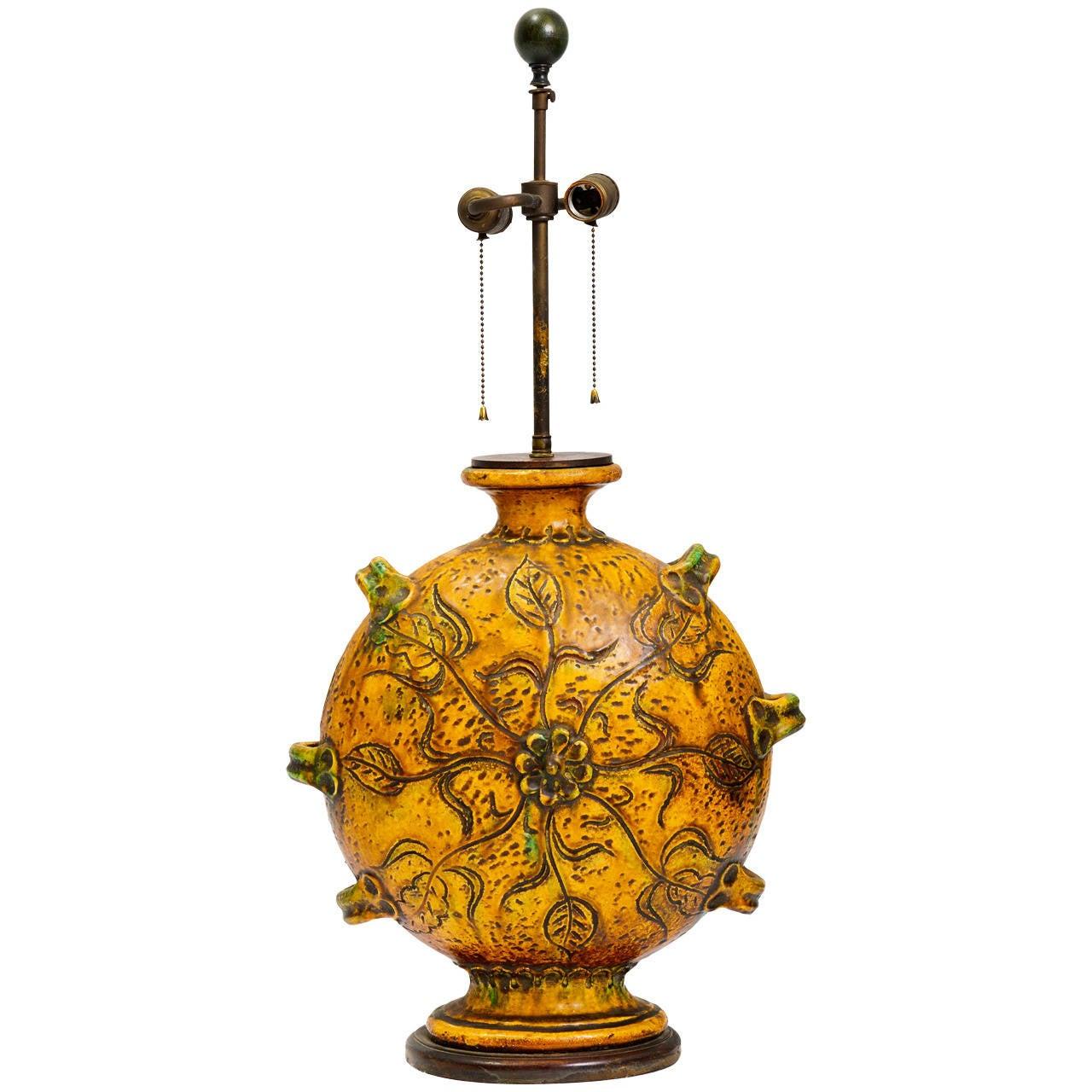 Monumental Glazed Stoneware Lamp