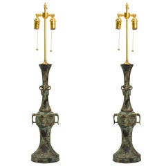 Pair of Patinated Bronze Table Lamps