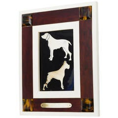 Italian Horn and Resin Dog Picture