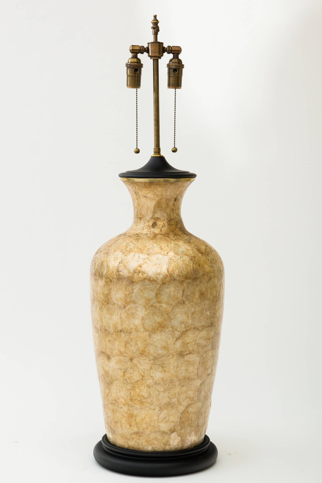 Large Capiz Shell Lamp In Good Condition For Sale In Tarrytown, NY