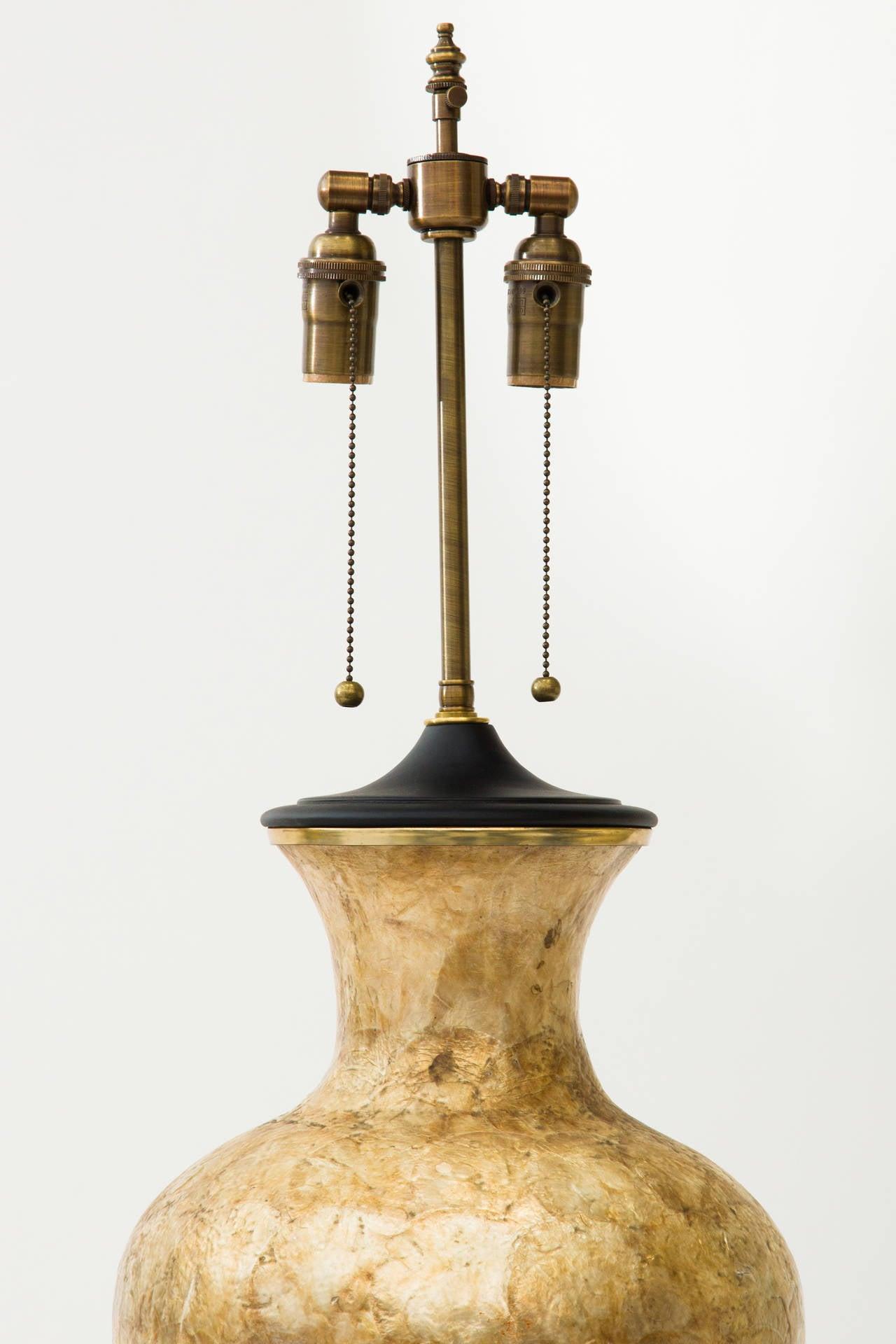 Oversized 1960s Capiz shell lamp. Fully restored.