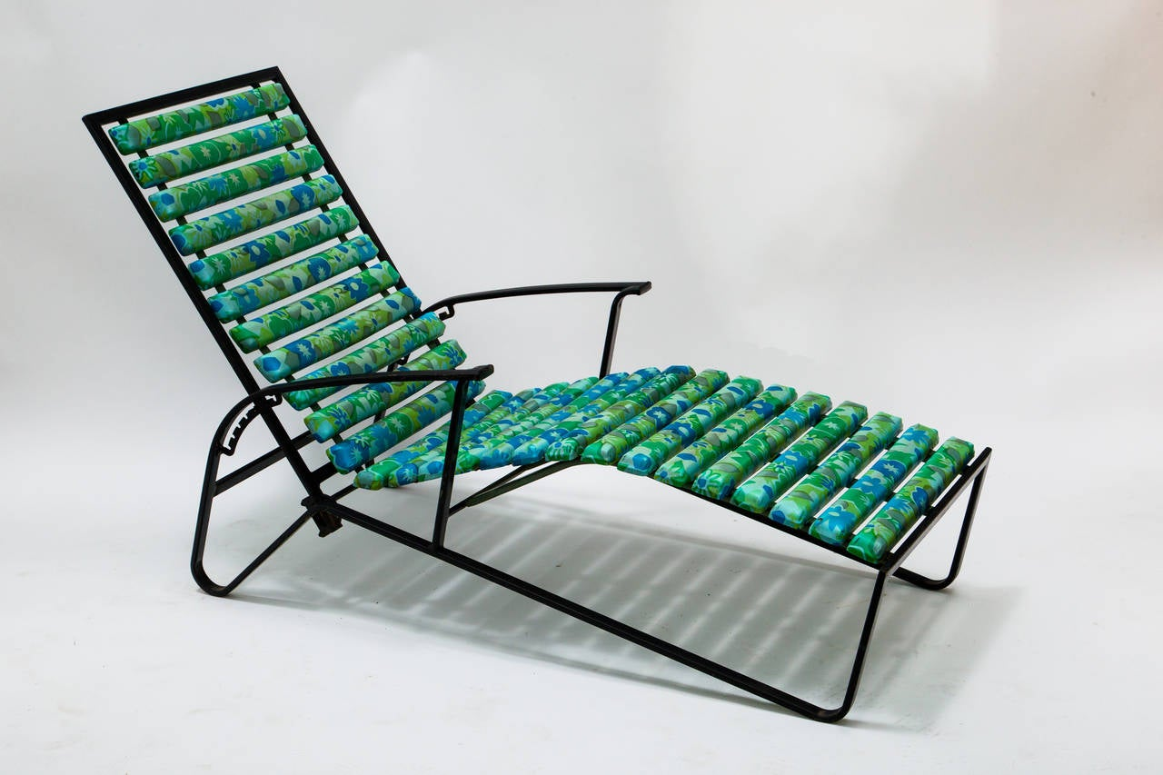 Tubular Steel Patio Reclining Back Lounge Chair It Has Been Painted Black Some Time Ago