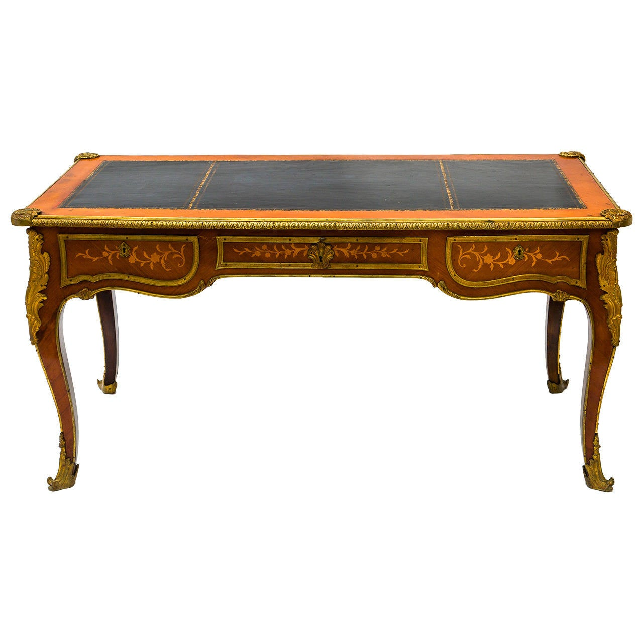 1940s french bureau plat with bronze mounts at 1stdibs for Bureau in french