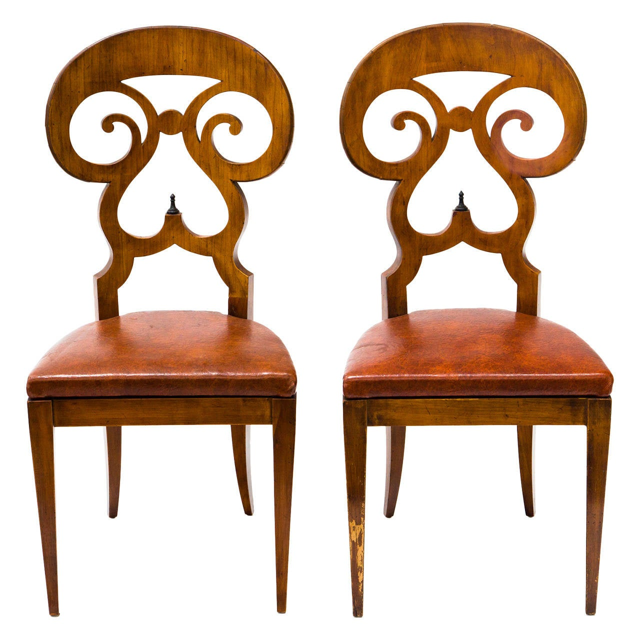 Captivating Pair Of Biedermeier Side Chairs 1