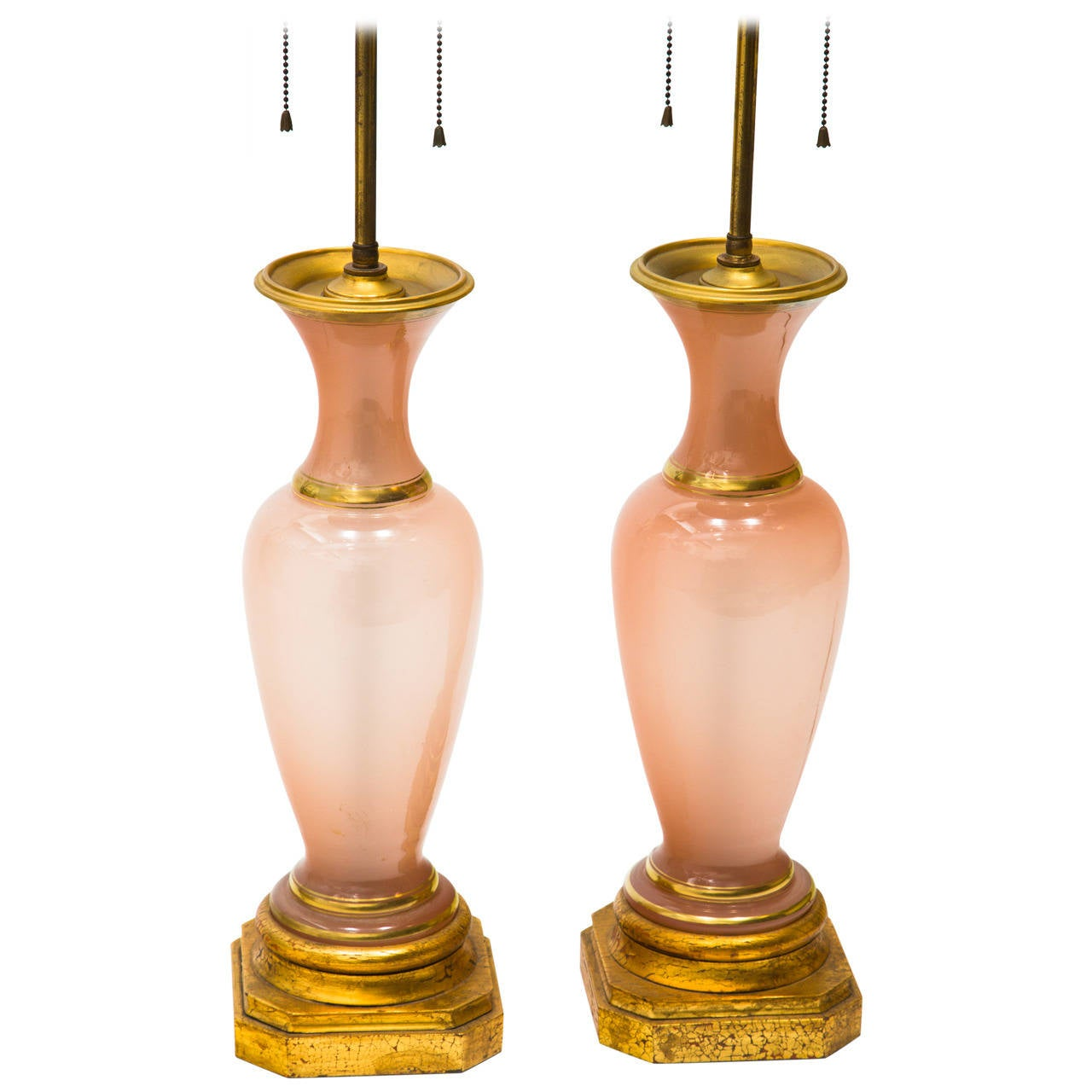 Pair of Opaline Table Lamps