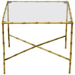 Italian Brass Faux Bamboo Accent Table