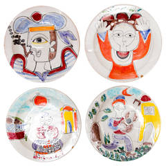 Four Hand-Painted Giovanni Desimone Early Plates