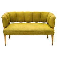 Hollywood Regency Channel Back Settee