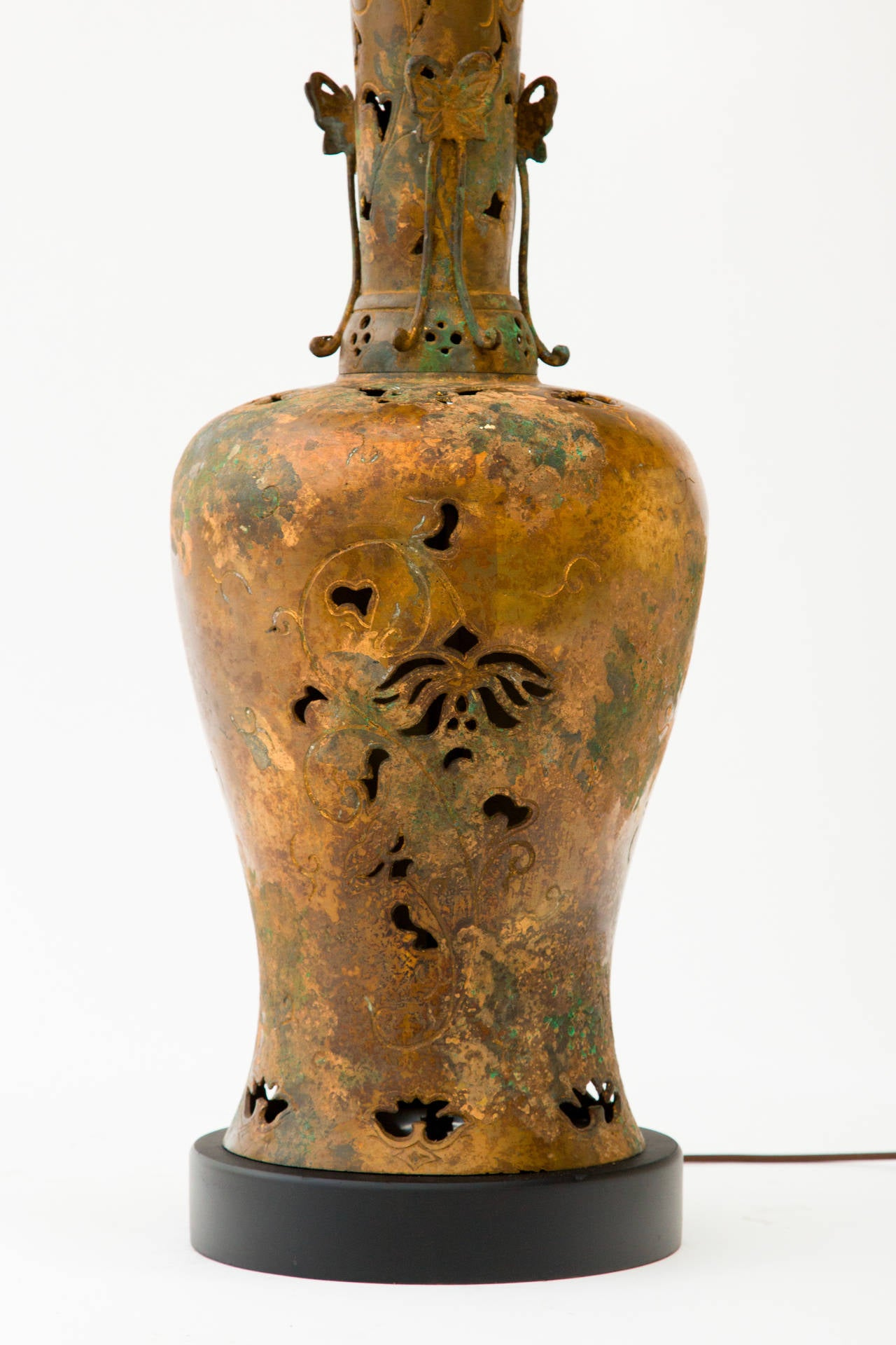 Chinese Bronze Table Lamp in the Style of James Mont For Sale