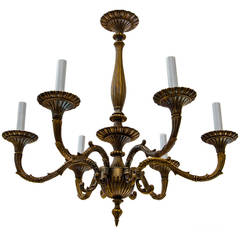 Six Arms Cast Bronze Chandelier