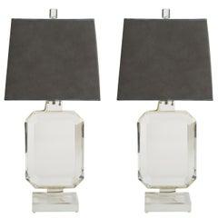Pair of Les Prismatiques Lucite Lamps