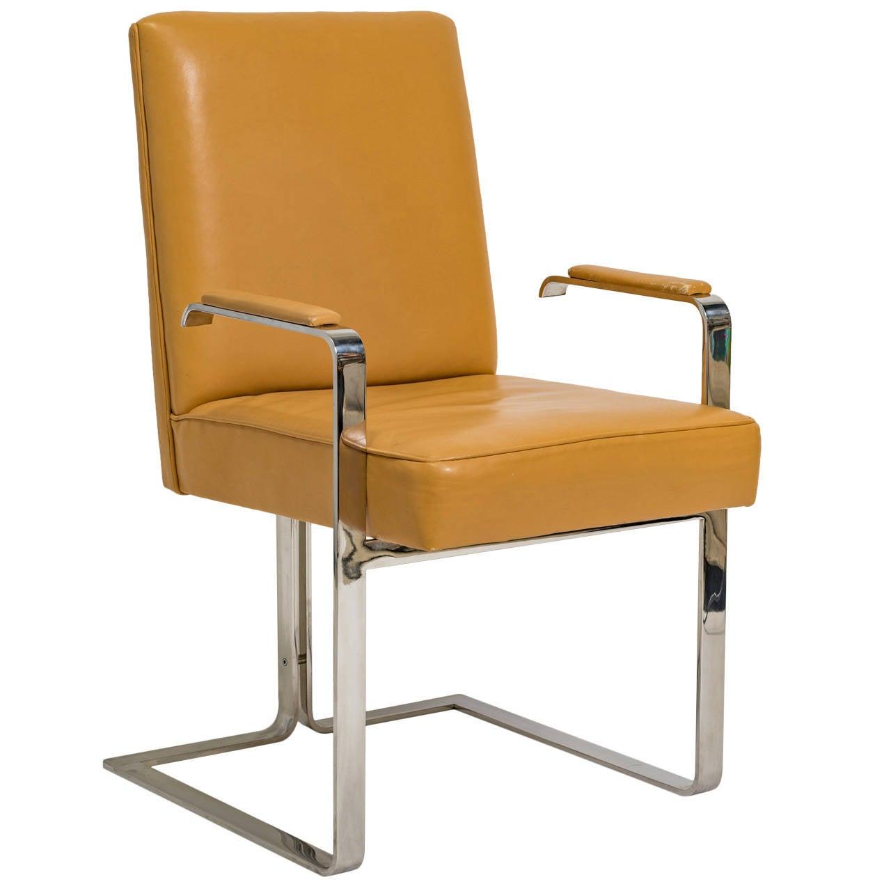 Vladimir Kagan Chrome and Leather Chair For Sale