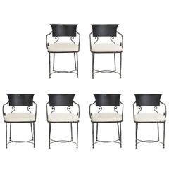 Six Italian Iron Chairs