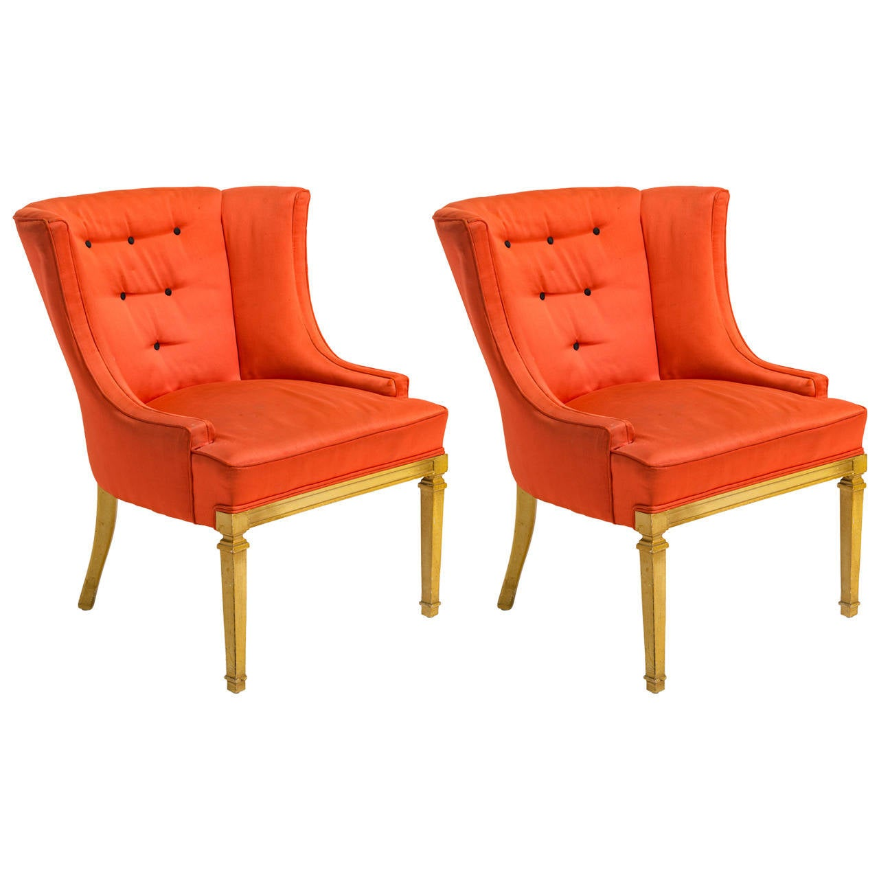 Pair Of Hollywood Regency Style Lounge Chairs For Sale At 1stdibs