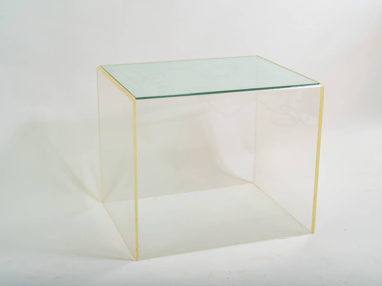 Lucite And Glass Cube Side Table At 1stdibs