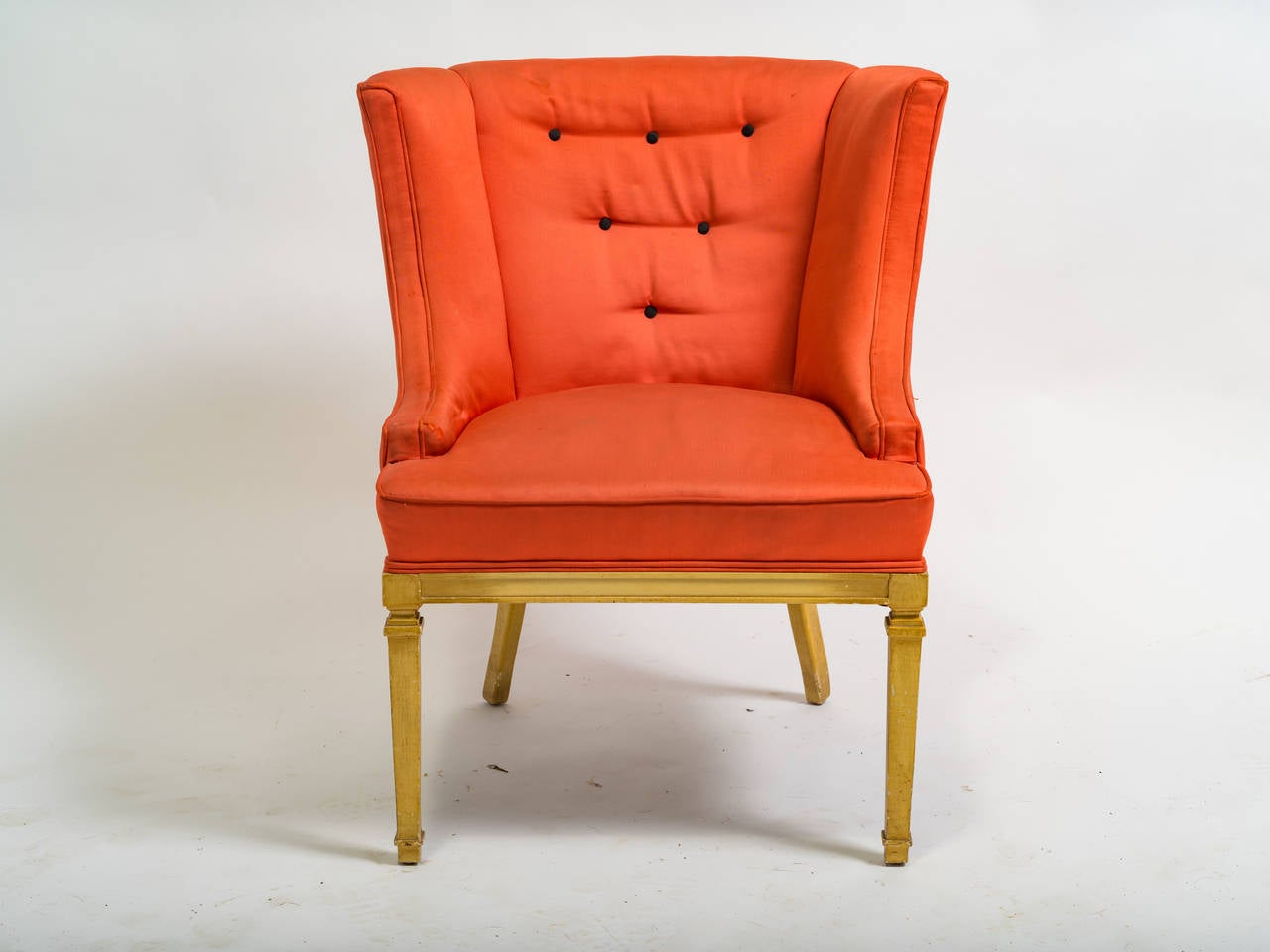 Pair of hollywood regency style lounge chairs for sale at