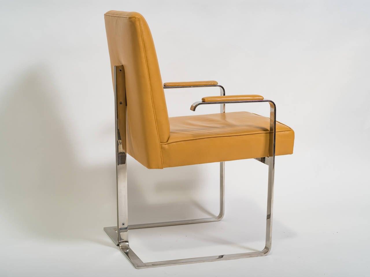 Vladimir Kagan Chrome and Leather Chair For Sale 4