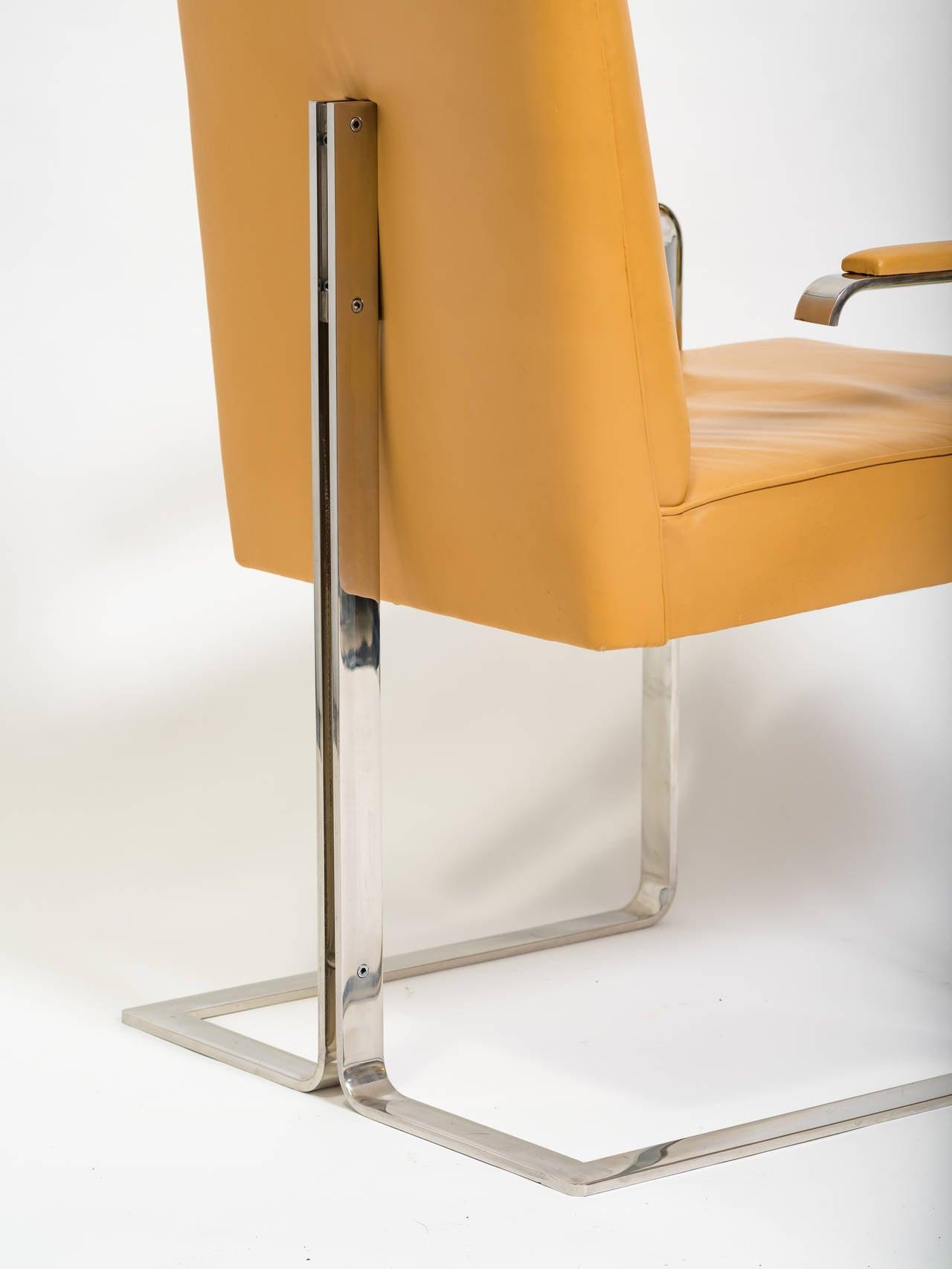 Vladimir Kagan Chrome and Leather Chair For Sale 5
