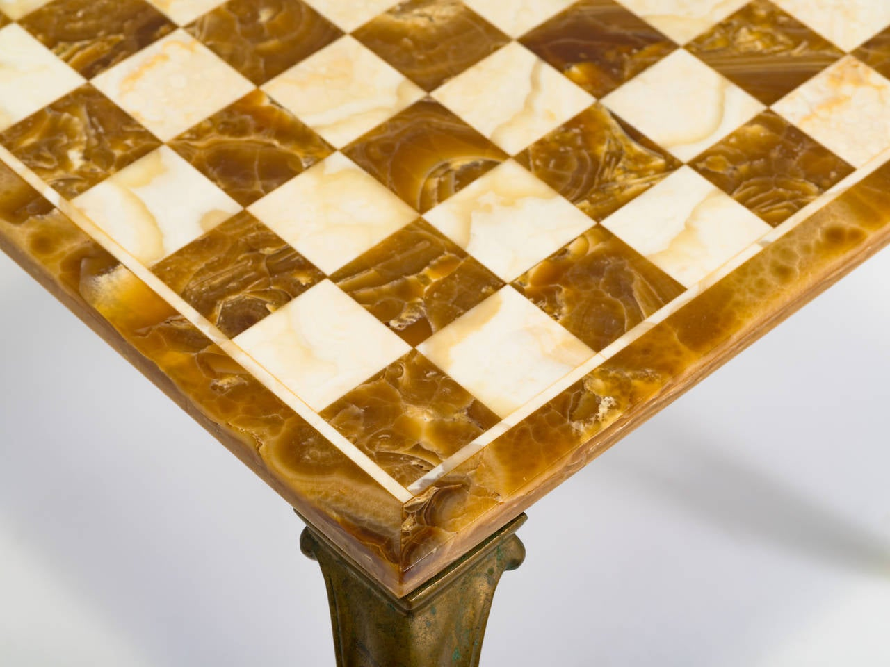 Italian Marble And Brass Chess Table At 1stdibs