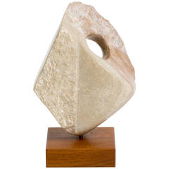 Marble Abstract Sculpture on Wooden Base