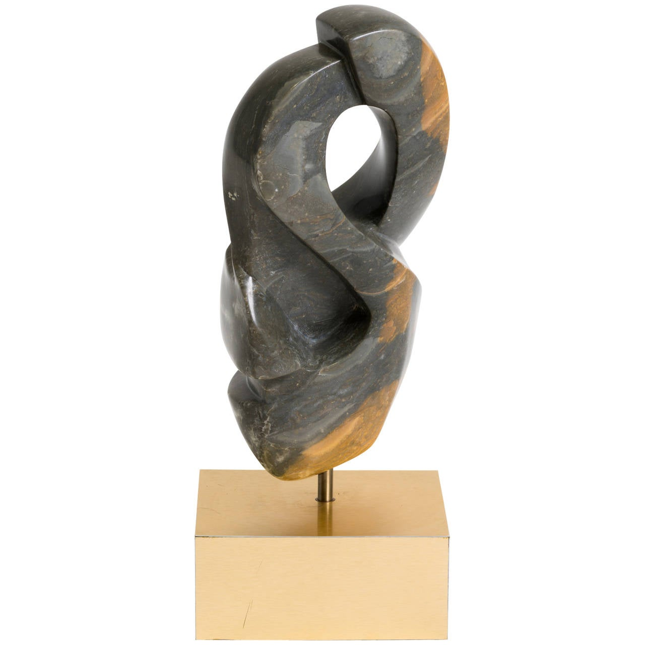 Green Marble Abstract Sculpture on Metal Base