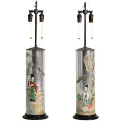 Églomisé and Decoupage Chinoiserie Glass Table Lamps
