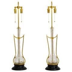 Art Nouveau Brass and Art Glass Lamps