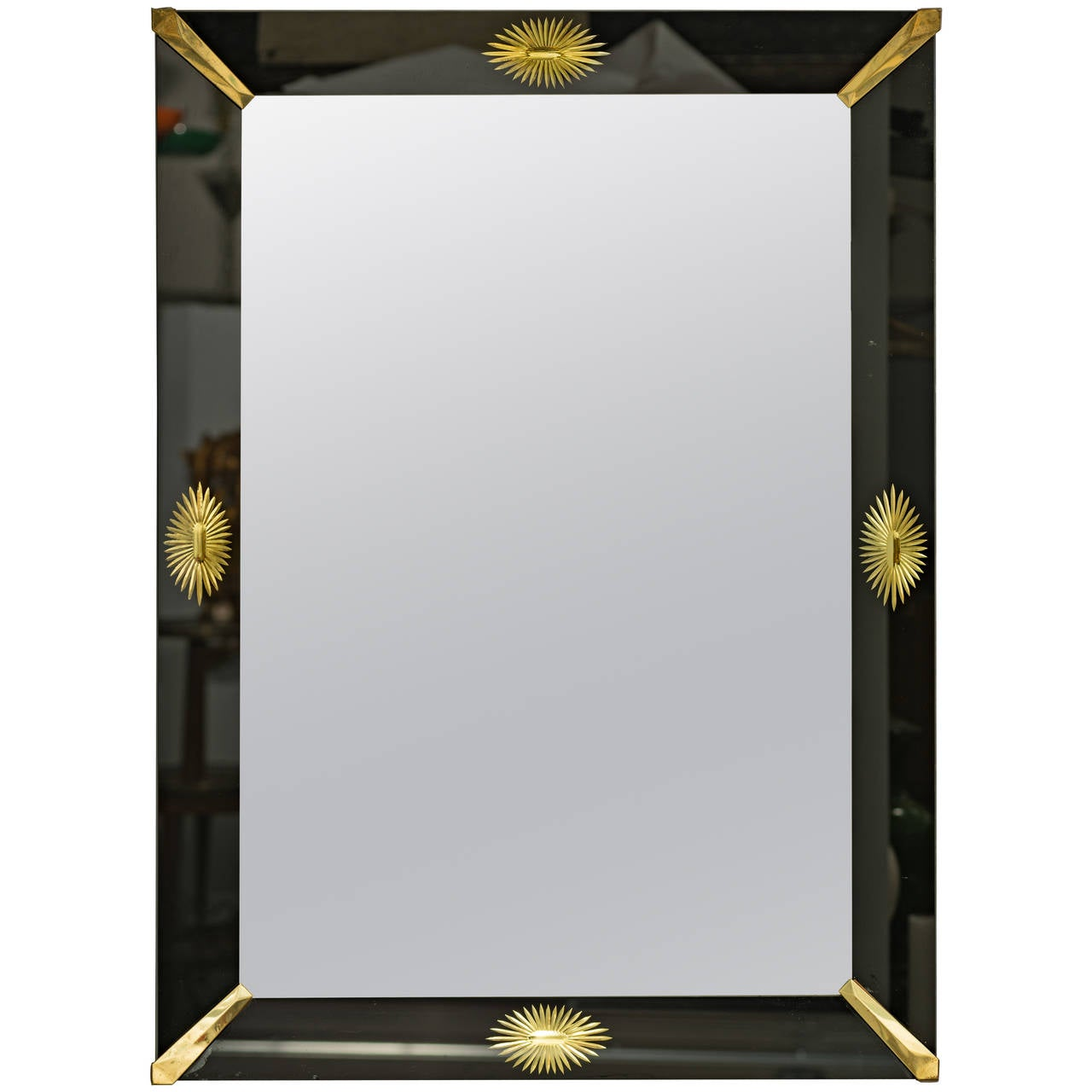 Black glass framed mirror at 1stdibs for Black wall mirror