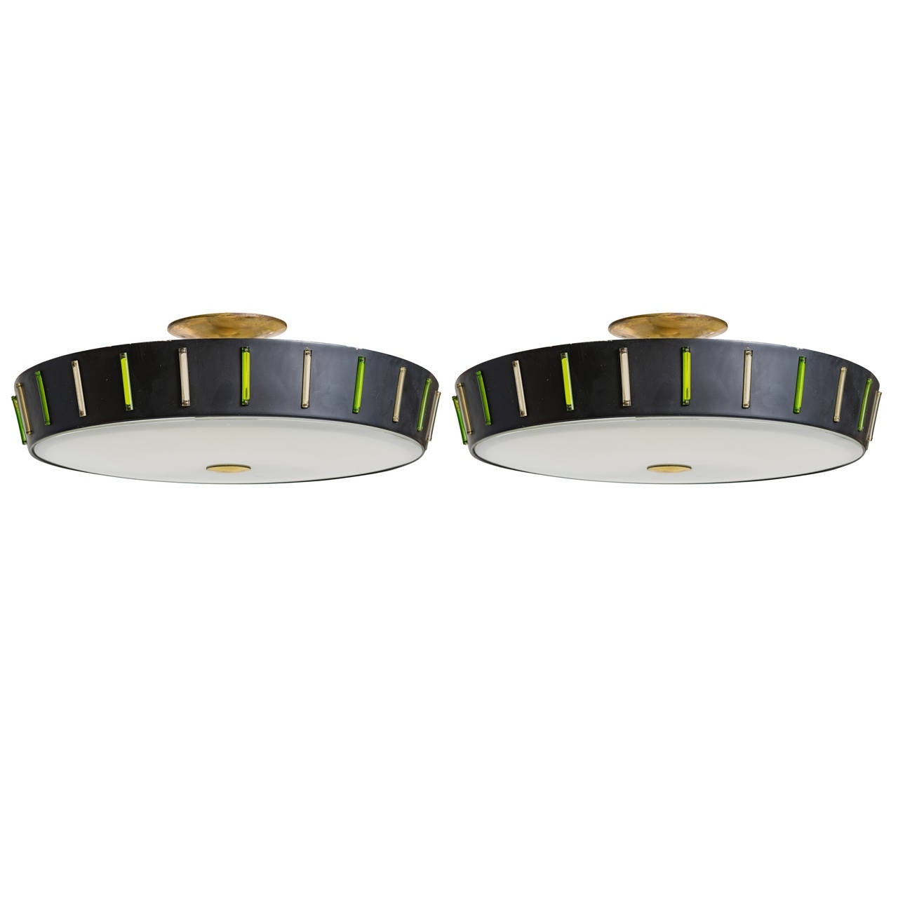 Ceiling Mounted Light Fixtures Pair of Mid Century Flush Mount Light Fixtures at 1stdibs