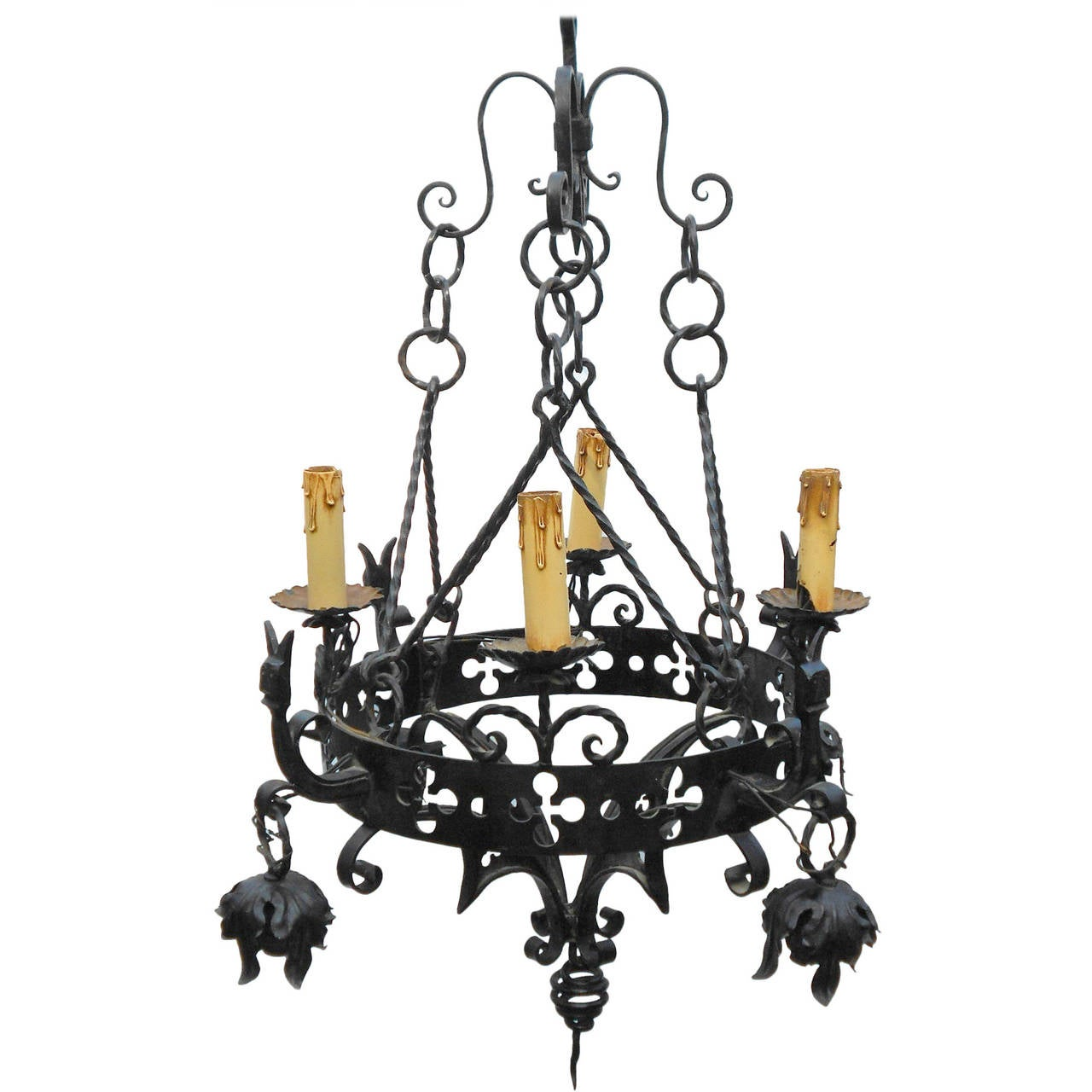 gothic iron chandelier with horned faces for sale at 1stdibs